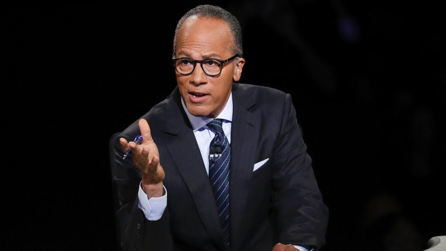 Sept. 26, 2016: Moderator Lester Holt, anchor of NBC Nightly News, asks a question of Democratic presidential nominee Hillary Clinton during the presidential debate Republican presidential nominee Donald Trump at Hofstra University in Hempstead, N.Y.