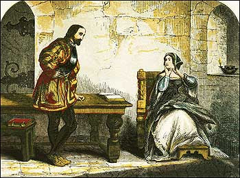 Illustration: Anne Boleyn in the Tower, speaking with William Kingston, the Constable of the Tower. c1855