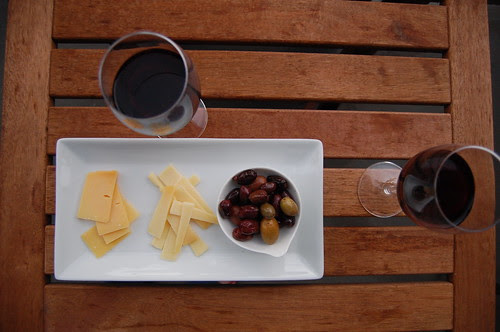 wine + cheese + olives