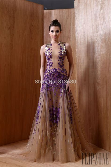 Gorgeous Champagne Evening Dresses purple and gold flowers