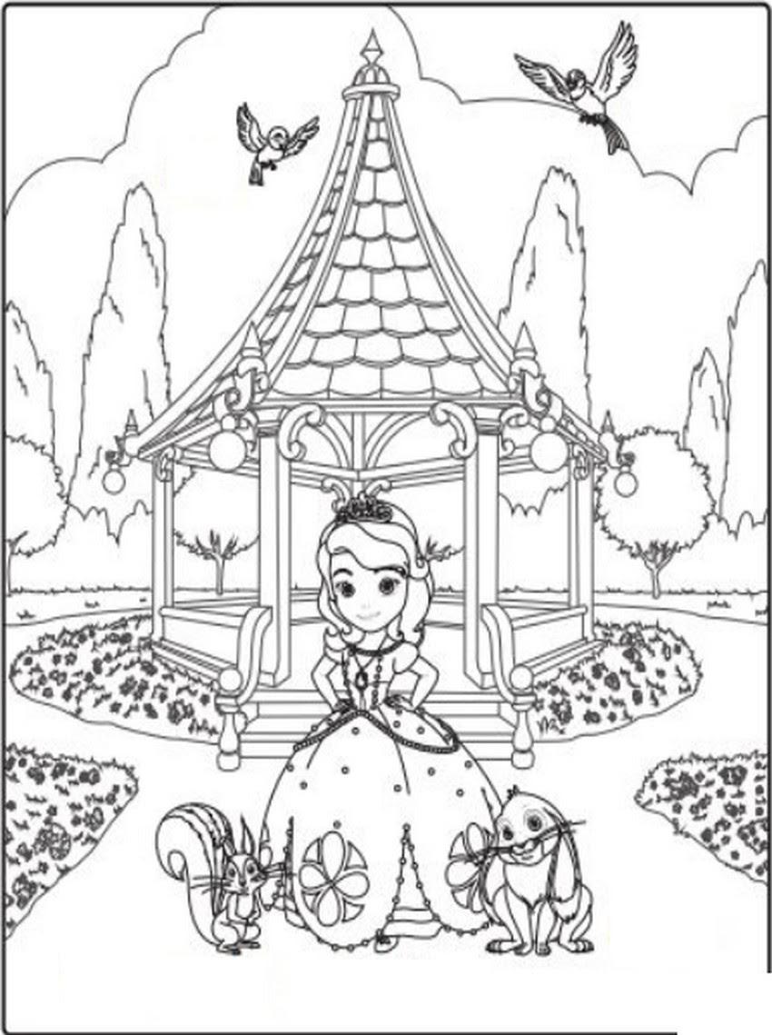 coloriage princesse sofia et ses amis au parc