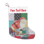 colorful vintage fabric patchwork with santa retro small christmas stocking