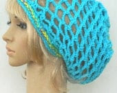Slouch Mesh ..Snood ...In Turquoise and Multicolored Stripes