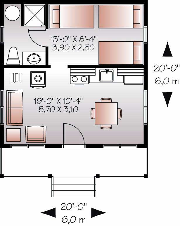 Small House Plan / Tiny Home - 1 Bedrm, 1 Bath - 400 Sq Ft ...