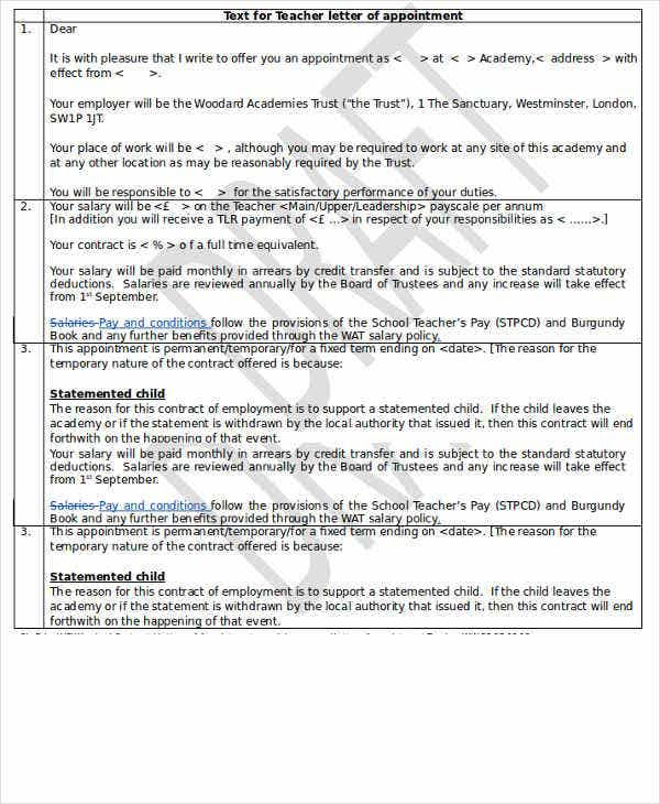 Teacher Appointment Letter Template