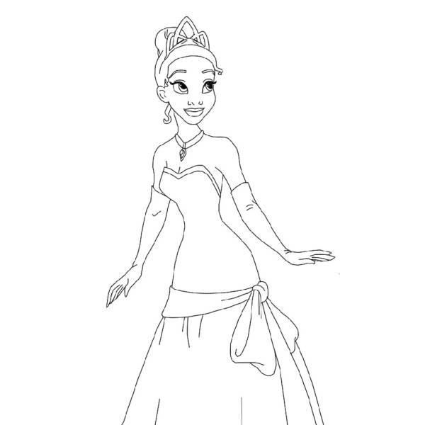 Disegno Di Tiana La Principessa Da Colorare Per Bambini