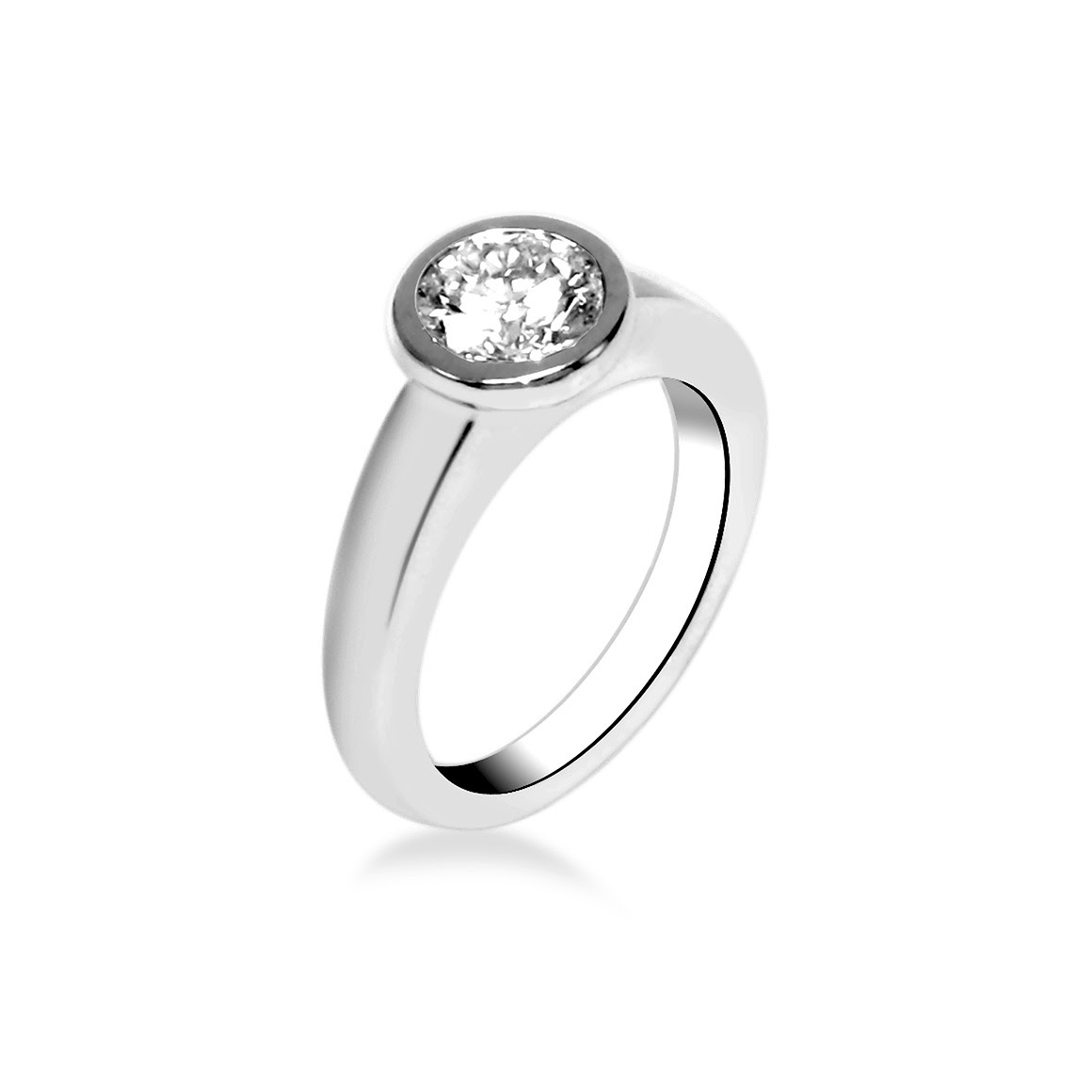 bague solitaire or blanc