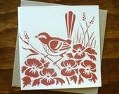 hand printed blank greeting card - wren bird in watermelon pink