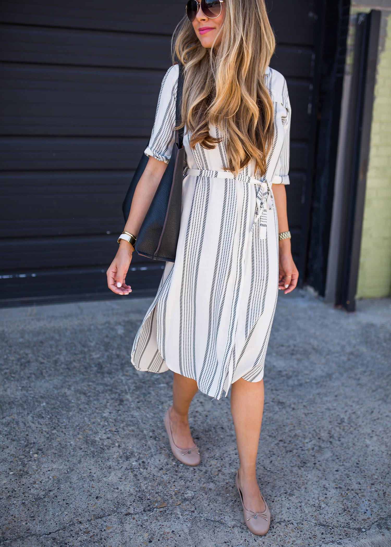 striped shirt dress  classic flats  the teacher diva