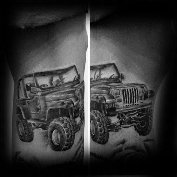 Detalhado Mens Jeep Tattoo Design Ideas