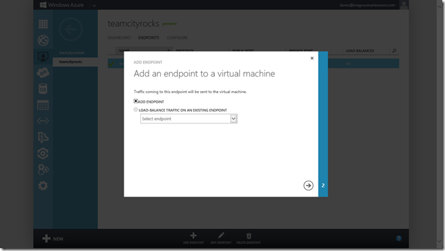 Add an endpoint to the virtual machine
