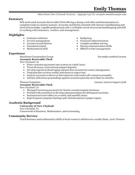 accounts receivable clerk accounting finance resume example classic 2 463x600