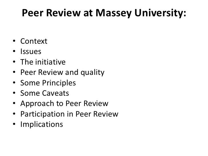 Peer Review: Promoting a Quality Culture