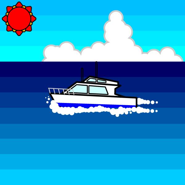 かわいい夏の海と船の無料イラスト商用フリー オイデ43