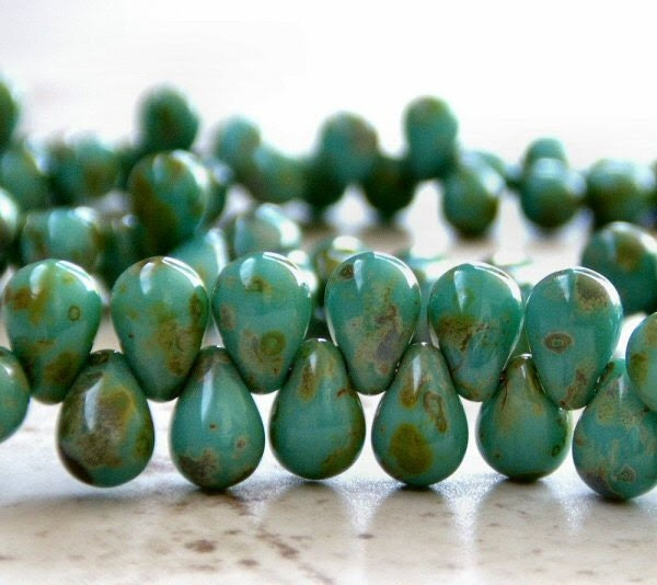 Turquoise Picasso Czech Glass Bead 4x6mm Tear drop : 50 pc - BobbiThisnThat