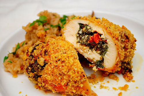Goat Cheese, Spinach & Sun Dried Tomato Stuffed Chicken