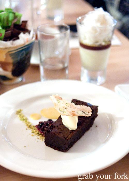 Warm flourless dark chocolate cake dessert at Bella Cafe, Kingscote, Kangaroo Island