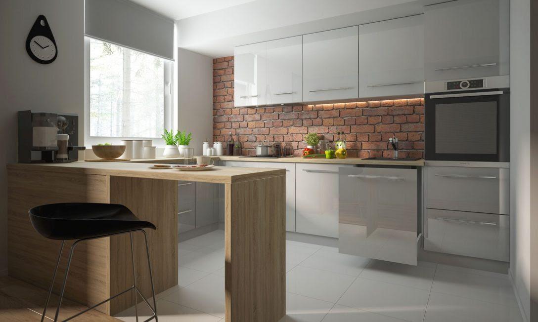 Küche Weiß Grau Hochglanz Mit Holz Ikea Hängeschrank ...