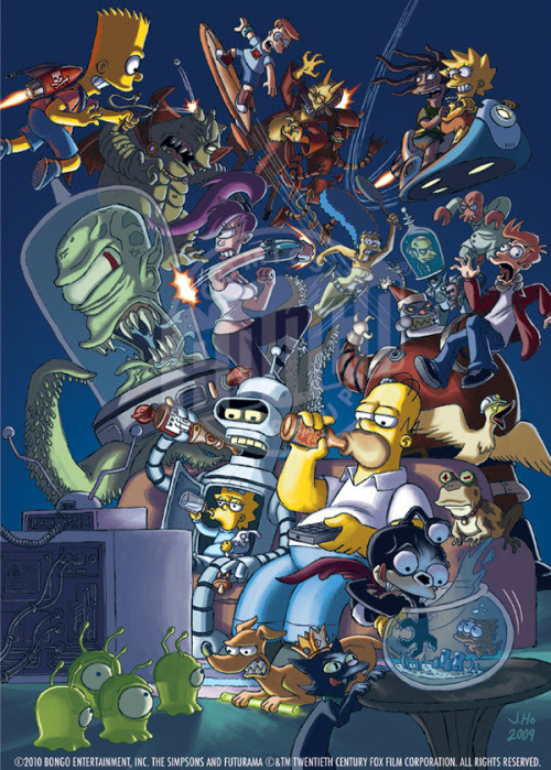 The worlds of Futurama and The Simpsons collide as one in this excellent piece by Jason Ho (Comic Artist / Creator at Bongo Comics). Worlds Collide by Jason Ho / bootlegsketch (deviantART) (Twitter)