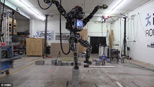 The researchers taught the robot the trick to show off its balance.
