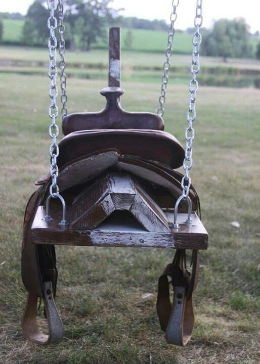Old saddle swing my daughter would love this.