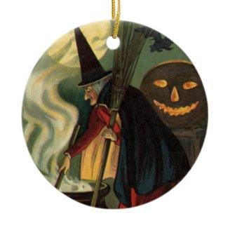 Vintage Halloween Witch Stirring Magic Cauldron Christmas Tree Ornament