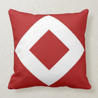 Red and White Diamond Pattern Pillow