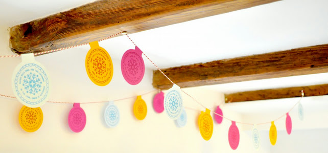 Hand Printed Festive Christmas Bunting - Exclusive to Folksy