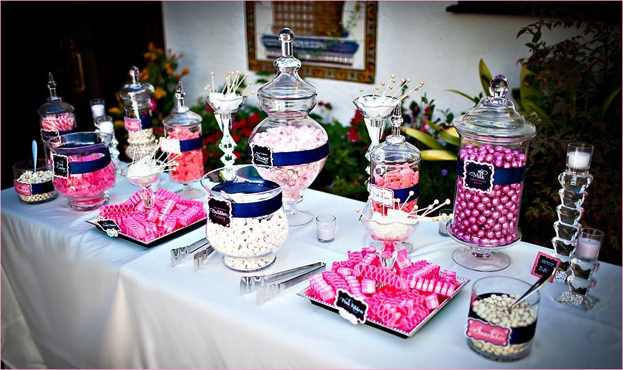 Sweet Sparkly Wedding Candy Buffet Pink And Navy Hostess With