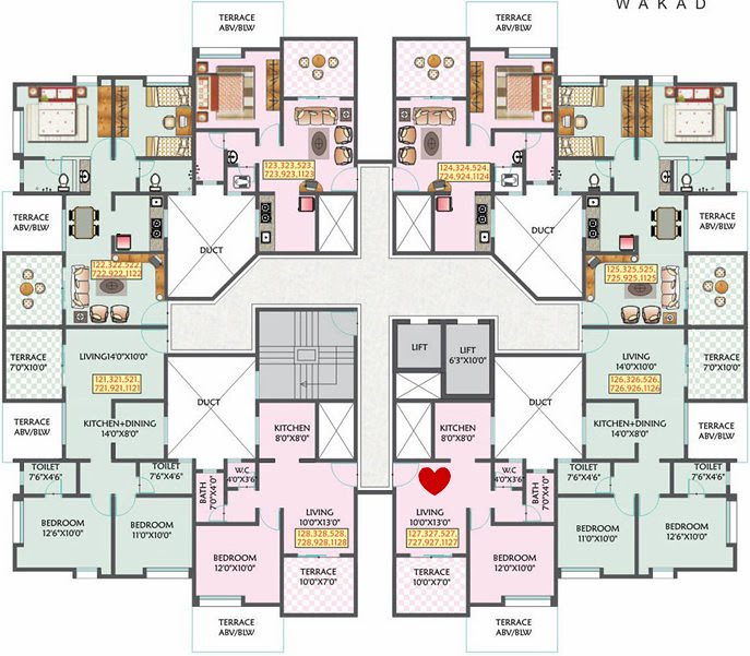 Om Developers' 'Golden Palms' F Building 1 BHK Flat No. 727 for Rs. 25,43,160 + S.T. + VAT + 12,131 (1 Year's Advance Maintenance)