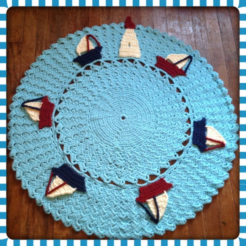 "Round Nautical Rug OOAK Sailboat Large Nursery Decor Thick, Soft Crochet 36"" Area Rug (Sea in Popsicle Blue) Many Colors- Mat Housewares - OnceUponACraft4U"