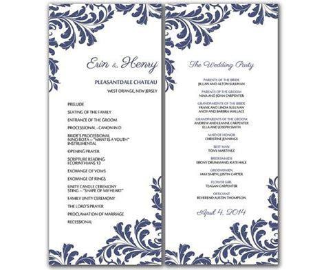 DIY Vintage Leaf Wedding Program Microsoft Word Template