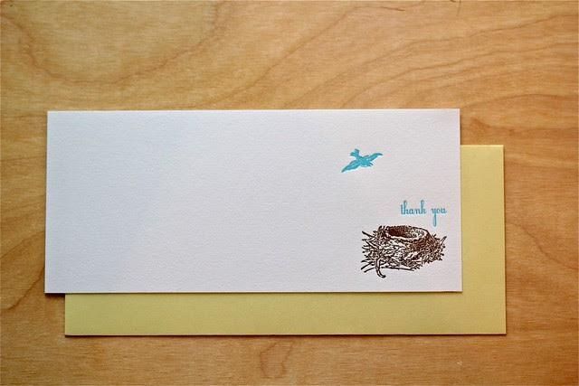 Letterpress Bird nest stationery