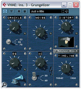 Any of the processors in the plug‑in menu's Distortion submenu can be used in place of acompressor in this article's parallel vocal processing setup, but in addition to those you can also get some useful tonal colours out of the Grungelizer plug‑in if you turn the Crackle, Noise and AC controls down to get rid of the backgroundnoise.