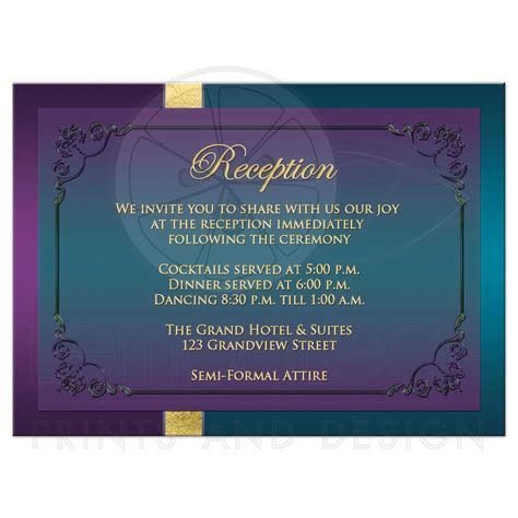 Wedding Reception Enclosure Card   Purple, Teal Peacock