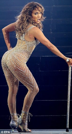 US singer Jennifer Lopez performs during a concert in Panama City, Panama, 14 June 2012