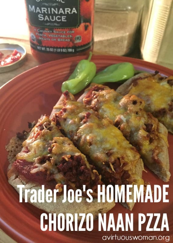 Trader Joe's Homemade Chorizo Naan Pizza by A Virtous Woman
