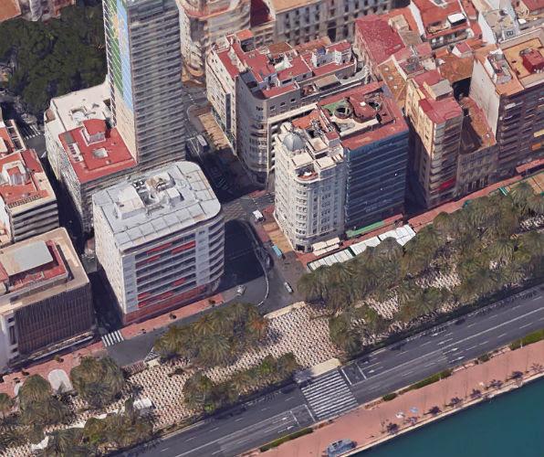 Ubicación del antiguo hotel Samper y luego hotel Carlton en Alicante