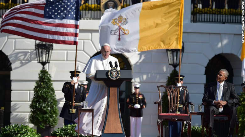 Pope Francis addresses guests at an elaborate welcoming ceremony on the South Lawn of the White House on Wednesday, September 23. Francis will be in the United States for six days, visiting Washington, New York and Philadelphia. It is his first trip to the country.