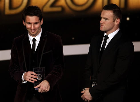 Lionel Messi and Wayne Rooney at FIFA Balon d'Or 2011-2012 gala and ceremony