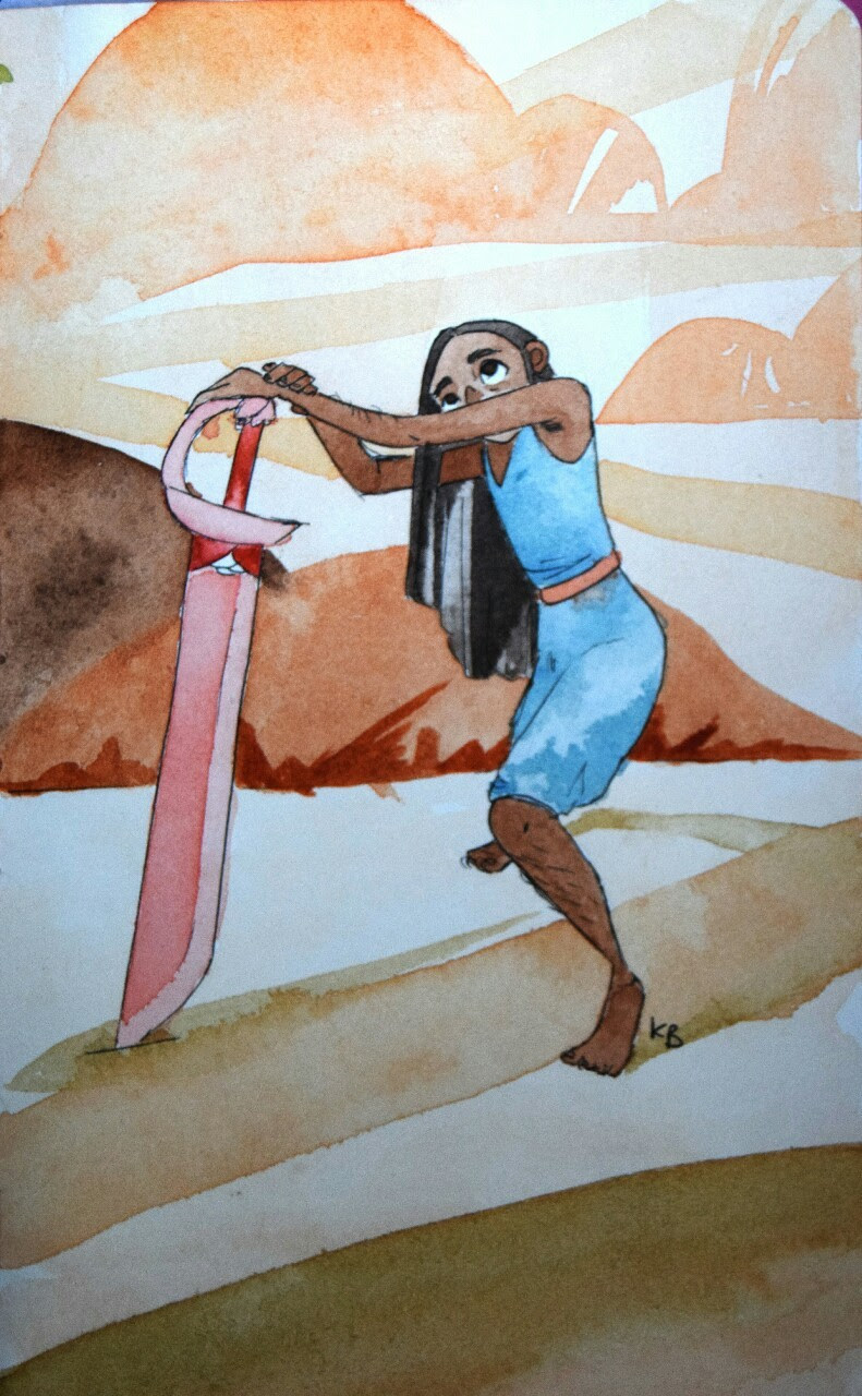 Connie Maheswaran featuring an attempt at those beautiful backgrounds Let's just pretend this is a much older Connie who is now taller than the sword