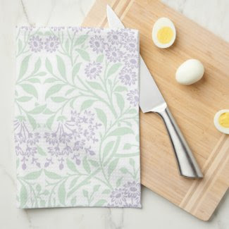Green Lilac Floral Damask Pattern Hand Towels