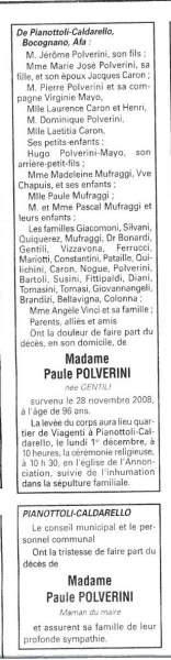 Décès Polverini Paule