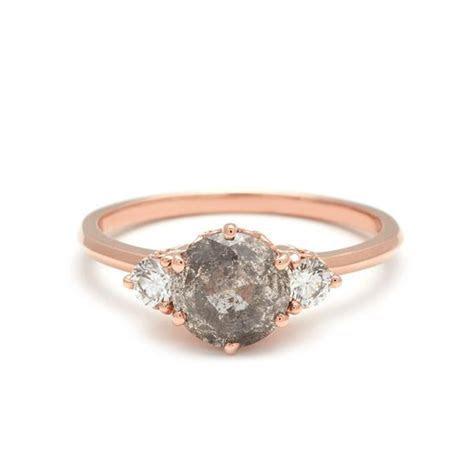 Three Stone Grey Diamond Hazeline unique engagement ring