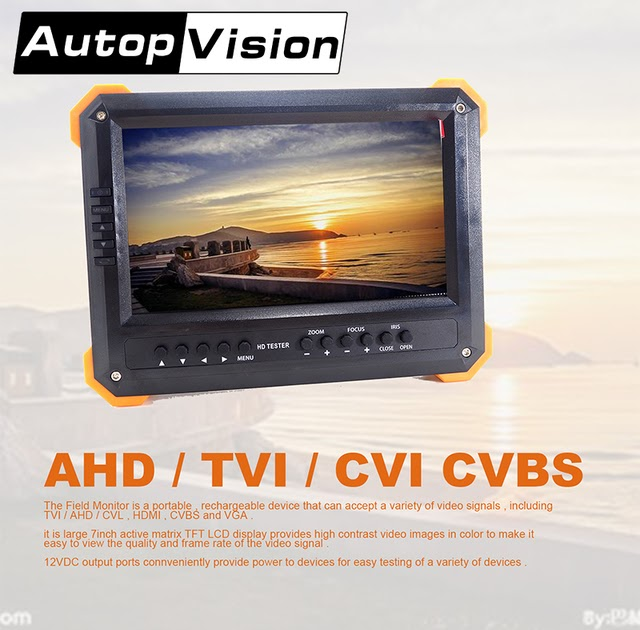 "X41TA 7/"" LCD Monitor HD-TVI 3.0+AHD+HDMI+VGA+CVBS Camera Test Video CCTV Tester"