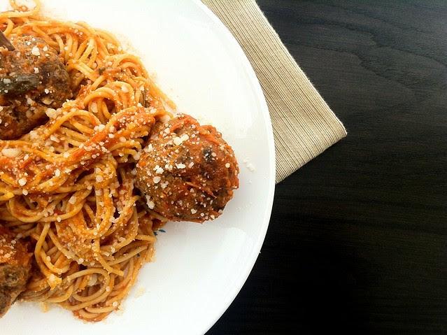 Spaghetti and Meatballs Closeup