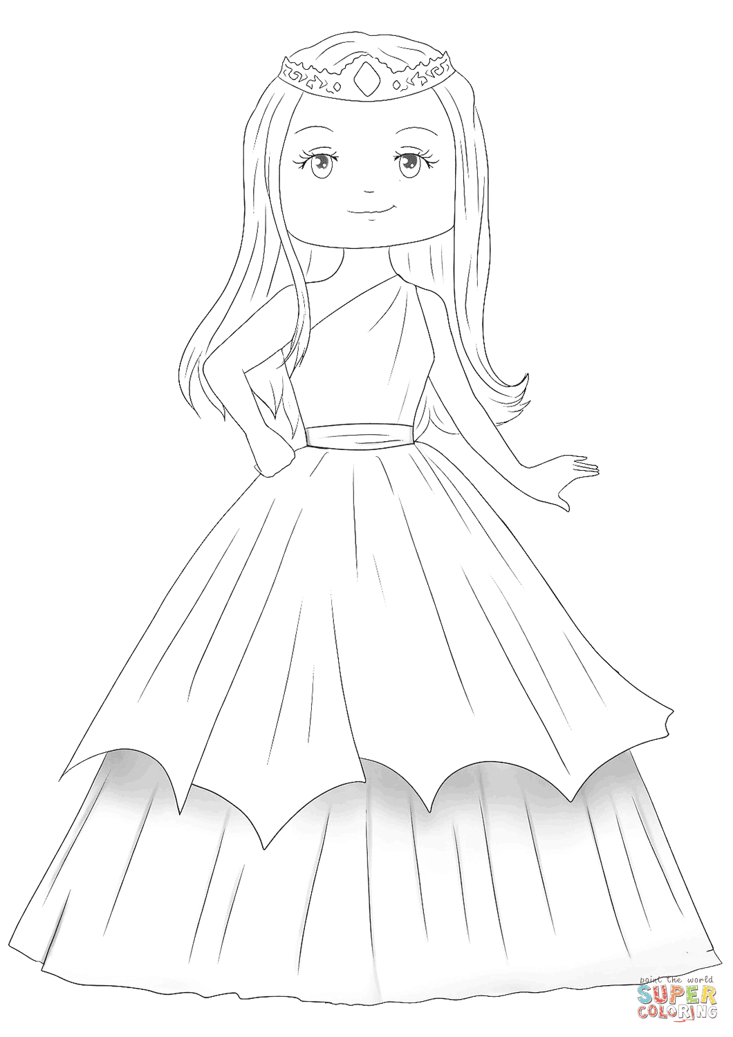 Cute Princess coloring page | Free Printable Coloring Pages
