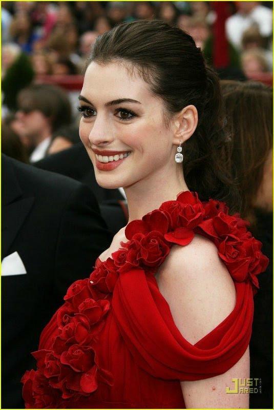 Red chiffon evening dress