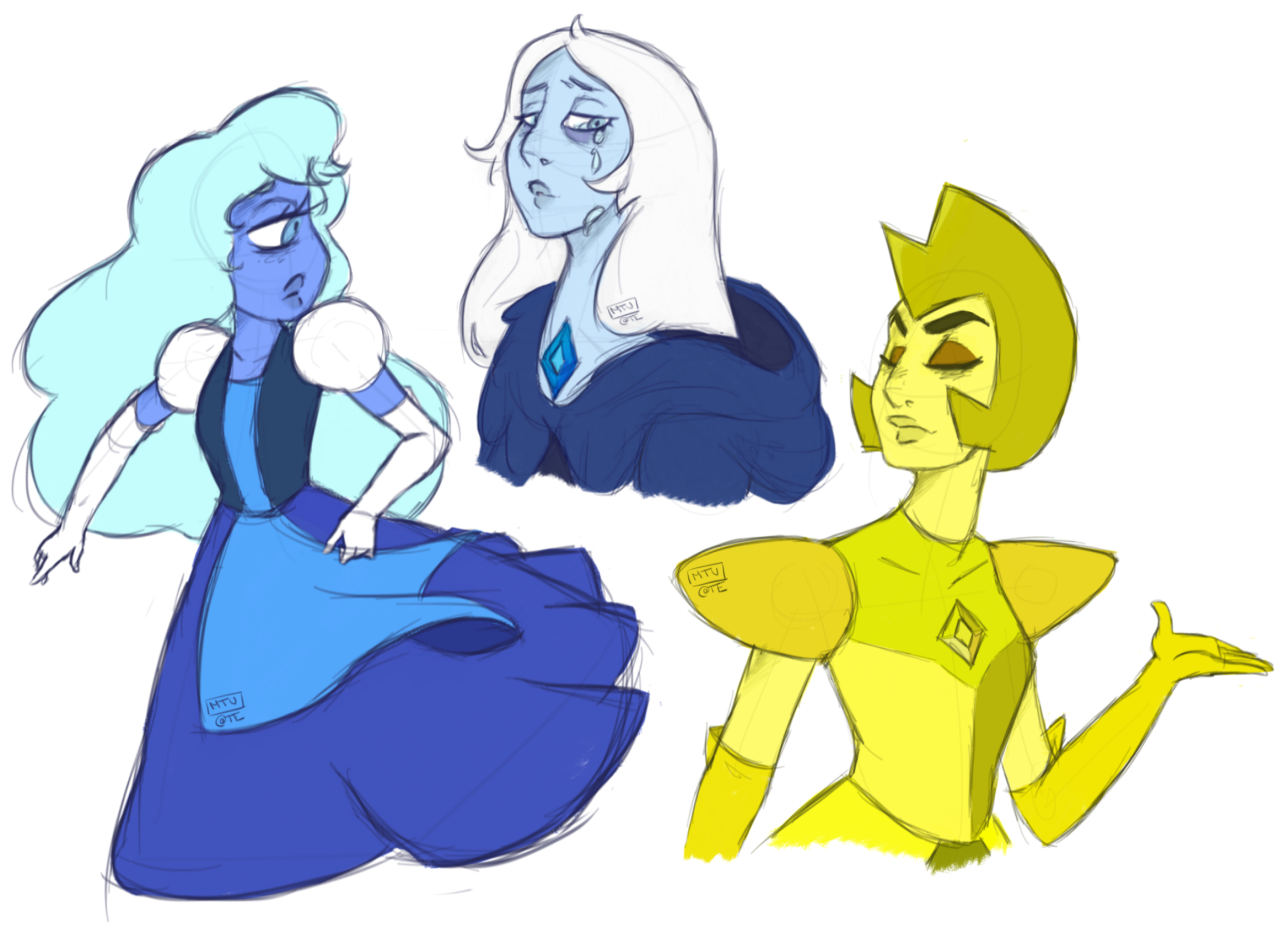 Some Su drabbles I drew today! Blue Diamond is precious. Please click the picture to view decently!