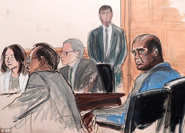 Choking back tears, the 60-year-old philanthropist (far left in a court drawing) admitted she agreed with others to pay John Ashe (right), who was also the U.N. ambassador from Antigua and Barbuda, to influence officials